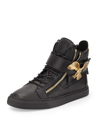Men's Leather High-Top Sneaker with Eagle, Black