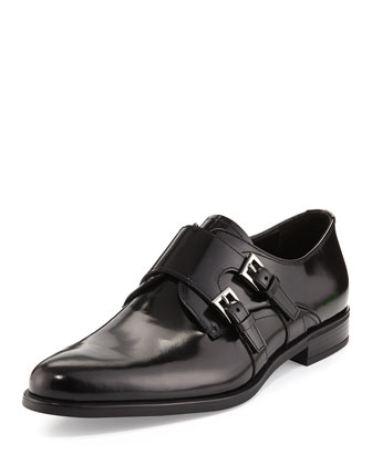 Leather Double Monk Loafer, Black