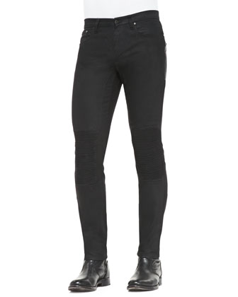 Blackrod Slim Stretch Jeans with Knee Panels, Black