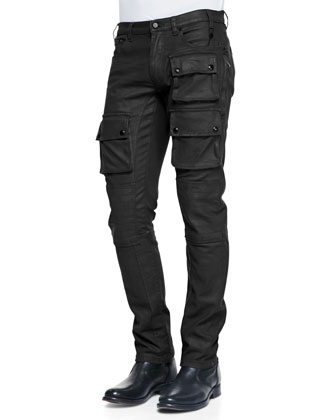 Distressed Leather Moto Jacket & Devonport Resin Coated Jeans