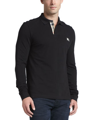 Long-Sleeve Pique Polo, Black