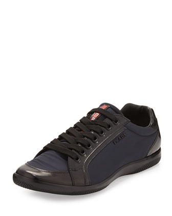 Nylon and Leather Sneaker, Blue