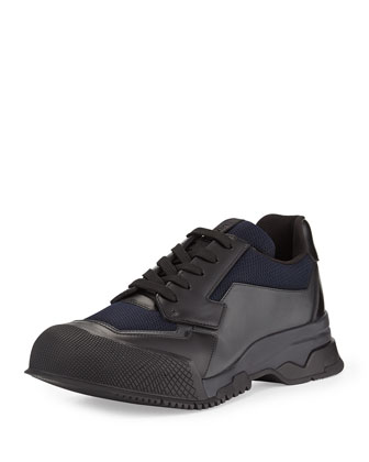Nylon Runway Trainer Sneaker, Black/Blue