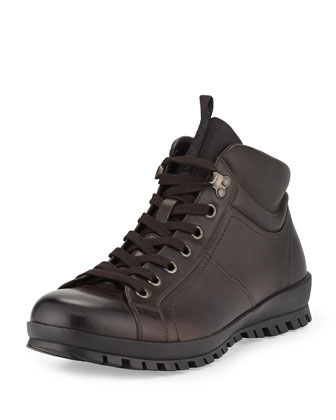 Leather Lugged Hiking Boot, Brown
