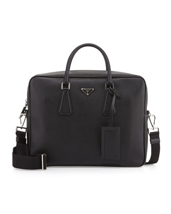 Saffiano Logo Briefcase with Shoulder Strap, Black