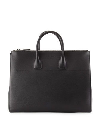 Men's Saffiano Zip-Top Shopper Bag, Black (Nero)