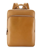 Saffiano Cuir Slim Backpack, Caramel