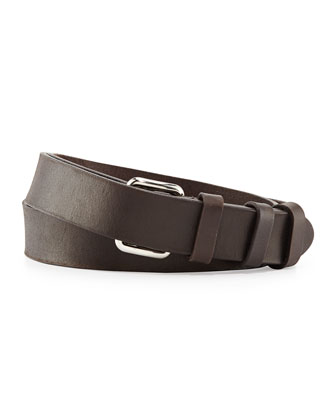 Leather Runway Belt, Dark Brown