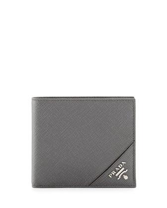 Corner Logo Saffiano Wallet, Gray