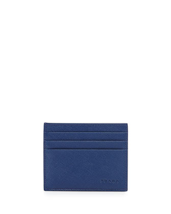 Saffiano Card Case, Blue