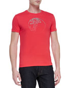 Short-Sleeve T-Shirt with Stud Pattern, Red
