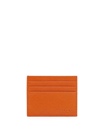 Saffiano Card Case, Orange