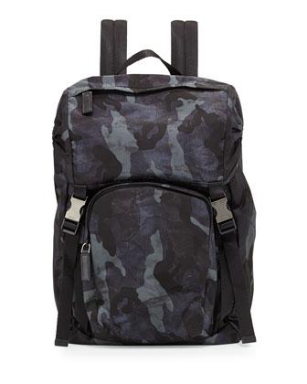 Nylon Double-Buckle Backpack, Blue Camo