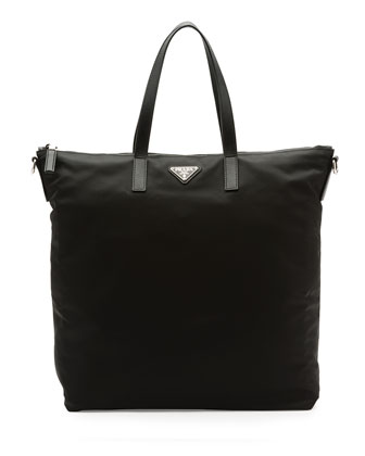 Men's Nylon Zip Tote Bag with Strap, Black