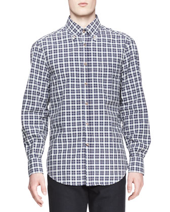Madras Plaid Button-Down Shirt