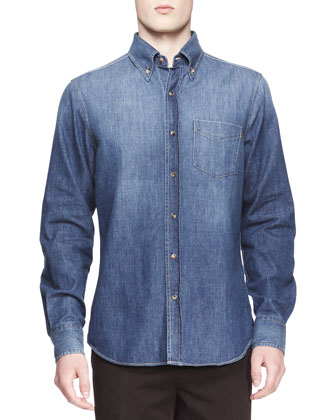 Faded Denim Italian-Fit Western Shirt