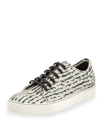 Zebra-Pattern Leather Sneaker, Black/Light Gray