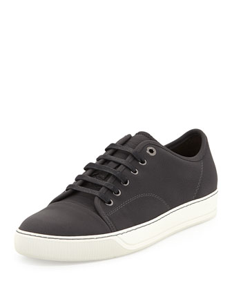 Men's Low-Top Leather Cap-Toe Sneaker, Gray