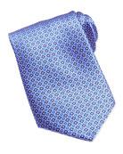 Neat Medallion Pattern Silk Tie, Blue