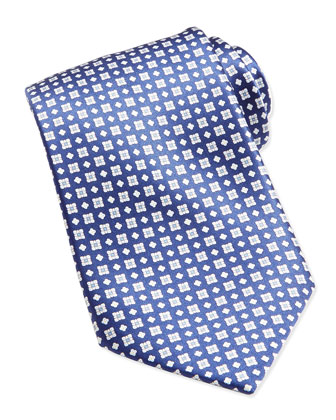 Windowpane/Floral Pattern Silk Tie, Blue