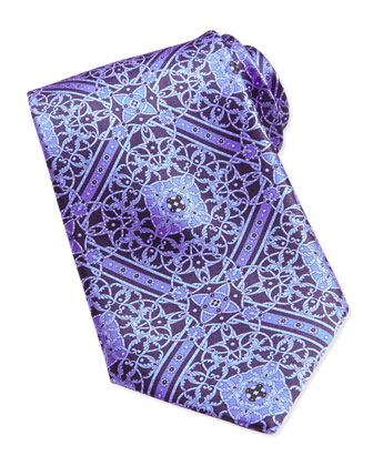 Floral Medallion Pattern Silk Tie, Blue