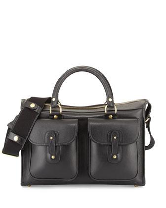 Examiner Vintage Leather Briefcase, Black