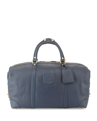 Leather Duffle Bag, Navy