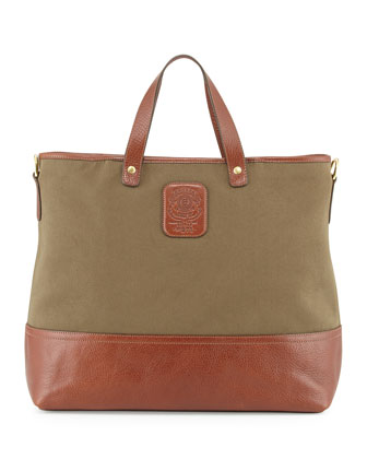 Men's Twill and Leather Tote Bag, Olive