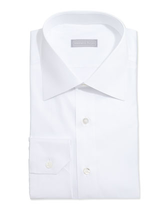 Basic Solid Barrel-Cuff Dress Shirt, White