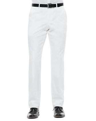 Cotton Flat-Front Pants