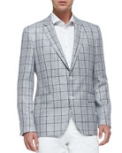 Exploded-Plaid Woven Two-Button Blazer