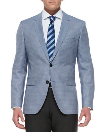 Houndstooth Check Wool Two-Button Blazer