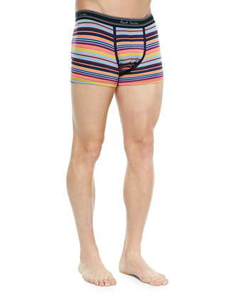 Multi-Stripe Low-Rise Boxer Briefs, Pink/Yellow