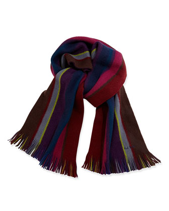 Reversible Striped Men's Scarf, Red Multi