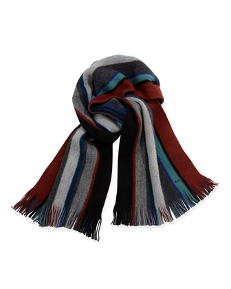 Reversible Striped Men's Scarf, Blue Multi