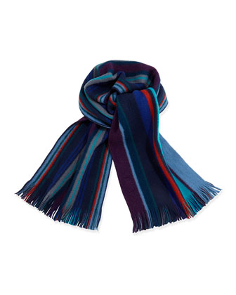 Reversible Striped Men's Scarf, Brown Multi