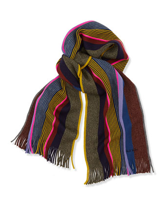 Men's Twisted Wool Stripe Scarf, Brown Multi