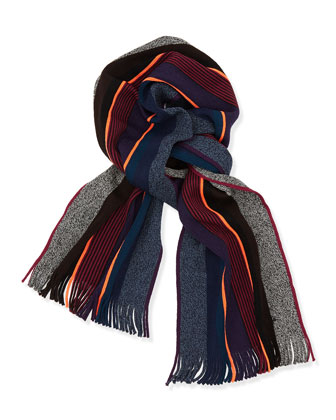Men's Twisted Wool Stripe Scarf, Blue Multi