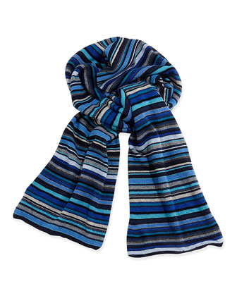 Classic Striped Men's Scarf, Blue Multi