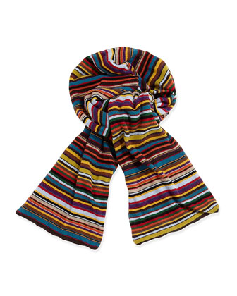 Classic Striped Men's Scarf, Red Multi