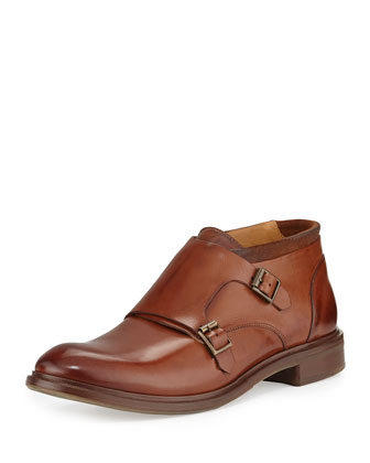 Gill Double-Buckle Monk-Strap Shoe, Tan