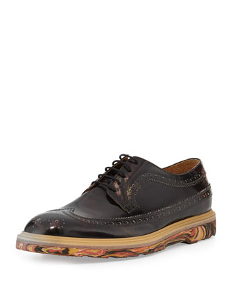 Grand Marbleized Wing-Tip Shoe, Black