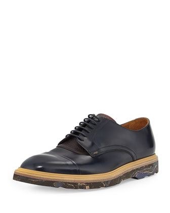 Thom Marble-Sole Cap-Toe Oxford, Navy