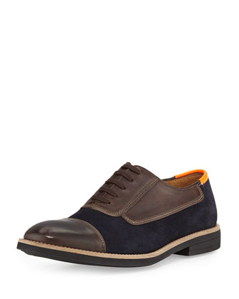 Balmoral Neon Tab Combo Oxford Shoe, Dark Brown