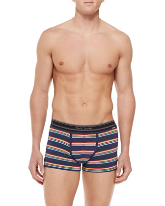 Stripe Low-Rise Boxer Briefs, Black