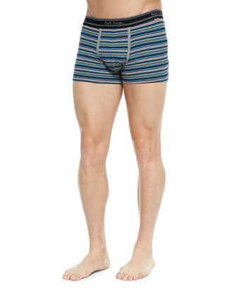 Striped Low-Rise Boxer Briefs, Brown/Orange