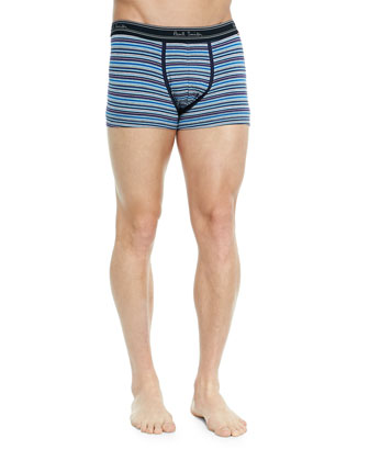 Striped Low-Rise Boxer Briefs, Blue/Gray Multi