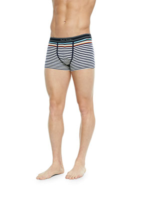 Striped Low-Rise Boxer Briefs, White/Blue Multi