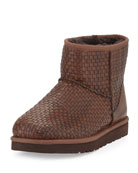 Woven Leather Mini Boot, Cognac