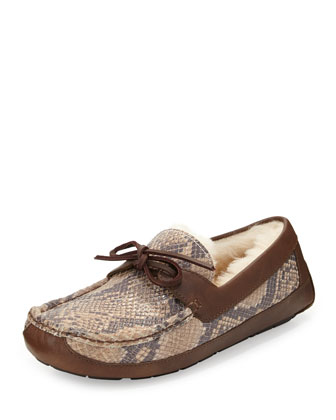 Byron Snake-Print Leather Slipper